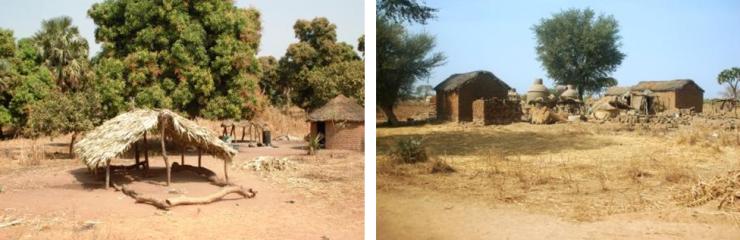 Au centre : salle de réunion, à droite : case d'habitationun village de la brousse avec greniers