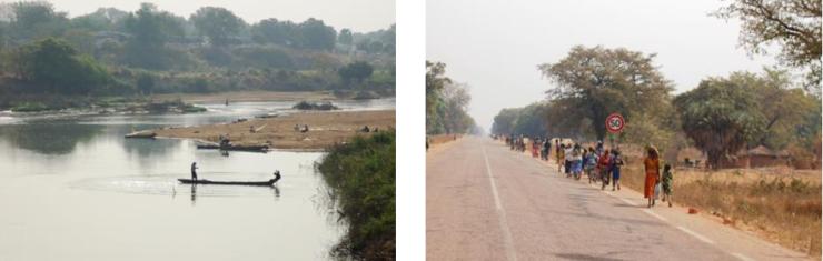 Les pêcheurs sur le fleuveLes foules marchant au bord des routes